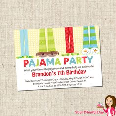 PRINTABLE Boy Pajama Party Invitations by yourblissfulday on Etsy, $10.00