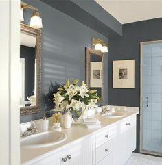 Guest bathroom paint colors! Gunmetal (walls), cloud white (trim), smokey taupe (ceiling) - From Benjamin Moore Personal Color Viewer