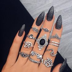 13 bucati/set Stil antic Etnic, forma de inima, Piatra pretioasa neagra, Floare, inele pentru degete pentru Femei