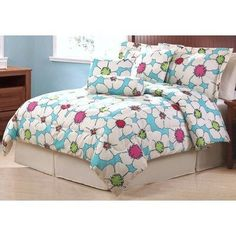 Pem America Pop Stop Comforter Sets, Queen by Pem America. $79.99. Queen set has 7-piece. 100% Polyester. Machine wash and dry. Printed polyester microfiber has a soft texture, and is easy care. Polyester fill for year round comfort. Pop Stop comforter sets are brightly printed microfiber polyester. Queen 7-piece set contains a 86 by 86 comforter, skirt, 2 std shams, and 3 dec pillows