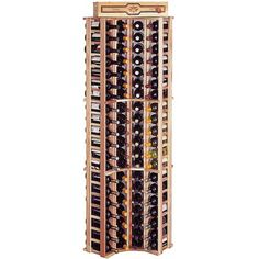 Traditional Redwood Curved Corner Wine Rack ($300) ❤ liked on Polyvore featuring home, kitchen & dining, bar tools, wood wine rack, wine rack, wine cellar, wine storage racks and wooden wine rack