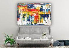 Extra Large Abstract Wall Art-Original Acrylic Painting image 2 Acrylic Painting Images, Large Painting, Large Abstract Wall Art, Acrylic Colors, Cotton Canvas, Wall Decor, The Originals, Handmade, Etsy