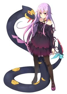 Anime picture 1000x1399 with pokemon original seviper kinta (distortion) long hair single tall image blush looking at viewer simple background white bare shoulders purple hair fringe standing collarbone girl dress bow ribbon (ribbons)