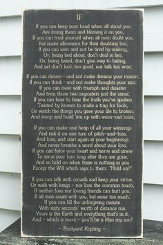 Rudyard Kipling If Poem Carved Wooden Sign by RusticPineDesigns