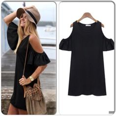 """⭐️S or M⭐️NWT Black Open Shoulder Tunic Dress NWT Black open shoulder dress that is so cute with leggings or as a casual dress! Material is a lightweight cotton blend. Length: Small - 32"""", Medium - 32""""🚫No Trades and No Paypal🚫sold out of large in black. Dresses"""