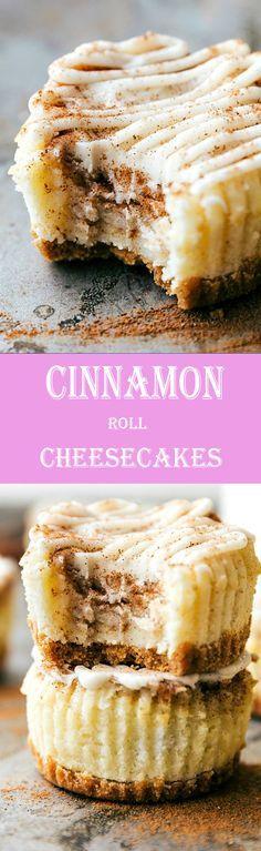 Bite sized Cinnamon Roll Cheesecakes