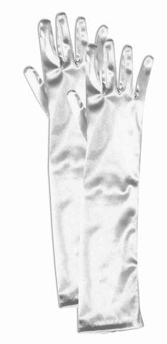 Child White Satin Opera Style Gloves - Party Depot