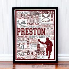 Lacrosse Print -  Personalized Lacrosse Typography Print - 16 x 20. $35.00, via Etsy.