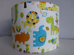 Blue Yellow Orange Elephant Lion Hippo Zoo by StitchAnnStyle
