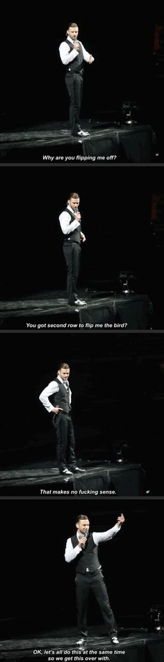 """Justin Timberlake reacts to someone in the audience who's """"flipping the bird"""""""