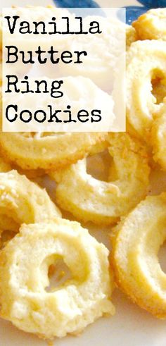 Vanilla Butter Ring Cookies. These little cookies have a wonderful vanilla flavor and melt in your mouth. Easy to make! Cookie Desserts, Christmas Desserts, Easy Desserts, Delicious Desserts, Dessert Recipes, Yummy Food, Health Desserts, Dinner Recipes, Christmas Cookies