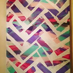 Abstract colorful painting. Diagonal chevron by CanvasCrafter22