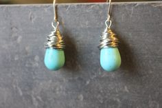 Wrapped magnesite drop earrings, by Cindy Larson Accessories