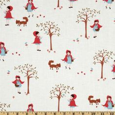 Moda A Walk In The Woods Little Red Icing White - quilt backing