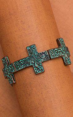 Copper Cross Stretch Bracelet with Patina