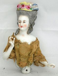 Victorian half doll / pin doll with a silk jacket