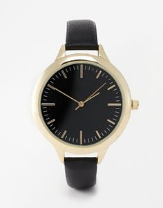 ASOS Leather Strap Watch with Black Dials