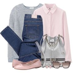 Silver Bucket Bag & Pink Flats by brendariley-1 on Polyvore featuring Uniqlo, Rebecca Taylor, Cheap Monday, Bloch, MANU Atelier, Miadora and Valentino