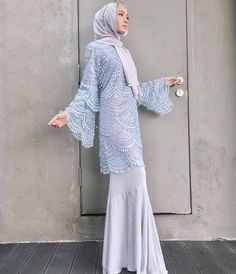 Baju raya iolls from tercinta. Cantik sangat I cannot 😭💙❄️ Islamic Fashion, Muslim Fashion, Modest Fashion, Fashion Dresses, Kebaya Lace, Kebaya Dress, Kebaya Hijab, Dress Brukat, Hijab Dress