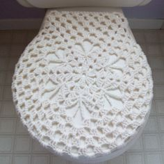 crocheted toilet seat cover