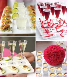 how lovely and elegant! Slices of apple wit goat cheese and walnuts.. Tacos with tuna tartare and margaritas...
