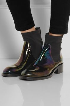 Acne Studios | Comet leather and scuba-jersey ankle boots | NET-A-PORTER.COM