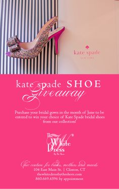 Purchase your gown at The White Dress to be entered to win a pair of @kate spade new york spade shoes from our collection!   #katespadeshoegiveaway