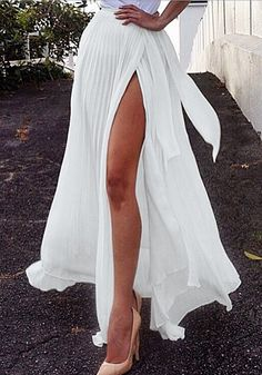 Long White Pleated Wrap Skirt