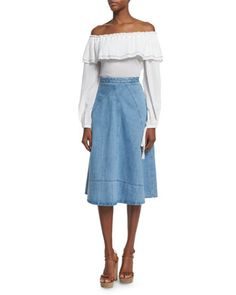 Spring 2016 - Off-Shoulder Cotton Peasant Blouse & Seamed Denim Flare Skirt by Michael Kors at Neiman Marcus.