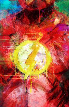 Flash Justice League Emblem Variant Abstract Art por j2artist