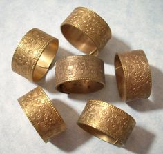 3 Vintage Brass Flower Pattern Rings Brass Ring Blanks by charmsgalore on Etsy