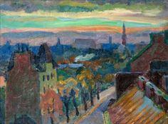 Mannerheimintie street , Helsinki, Onni Oja,  Finnish, 1909-2004.  Oil on canvas.  Cozyhuarique