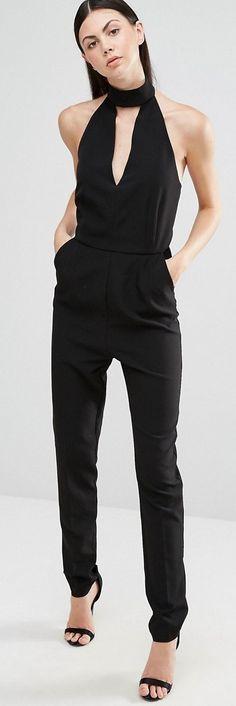 726724e3667 Lavish Alice Tall Halter Neck Tailored Jumpsuit Black Halter Jumpsuit