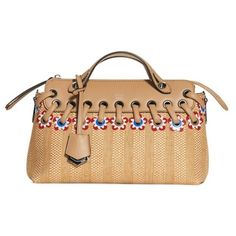 Women's Fendi Small By The Way Raffia Satchel (€2.290) ❤ liked on Polyvore featuring bags, handbags, natural multi, woven handbags, foldover purse, shopping bag, beige purse and raffia handbags