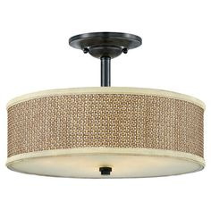 With a woven shade and frosted glass diffuser, this semi-flush mount brings a soft touch to your living room or foyer.   Product: Sem...