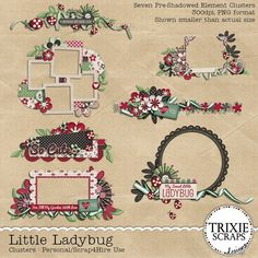 Little Ladybug Digital Scrapbooking Clusters - Bring the luck of the ladybug to your pages with this new digital scrapbook collection from Trixie Scraps! Little Ladybug is perfect for scrapbooking photos of the little cuties you count yourself lucky to know, as well as spring and summer photos, gardening photos and so much more.