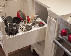 kitchen organization - helps to keep the counters clear!
