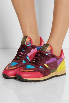 Sole measures approximately 25mm/ 1 inch Multicolored leather and suede Lace up front