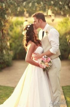I love the light vest and pants for him : wedding photo ideas : super cute