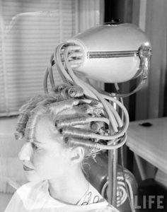 New Hair Dryer, 1946. #vintage #1940s #hair