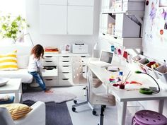 ∞ White Versus Paint: Stunning room/desk, but if somebody knocks those paints there's going to trouble. Via Home Designing.