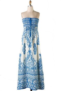 Fine China Scarf Print Strapless Maxi Dress - Blue