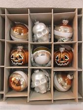 NIB Shiny Brite Christopher Radko Halloween Pumpkin Skull Glass Ornaments