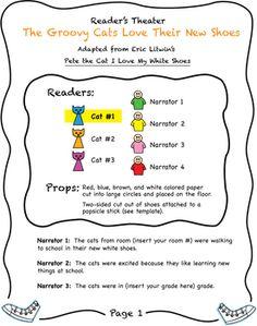 PETE THE CAT NEW SHOES READER'S THEATER SCRIPT FIRST SECOND THIRD GRADE - TeachersPayTeachers.com