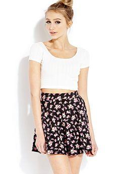 Dainty Rose Skater Skirt | FOREVER21 - 2000127126