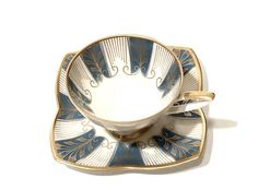 Art Deco Alka Kunst Demitasse Cup Teal And White Gilded