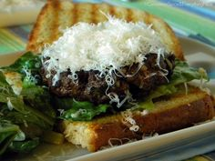 Caesar Salad Flank Steak Burgers on Garlic Sourdough Crostini | Cinnamon Spice & Everything Nice
