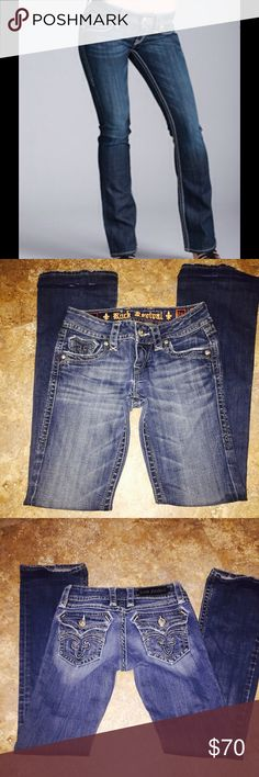 """Rock Revival Deborah Boot Gorgeous Rock Revivals in very good condition. Minor wear, Jeans are blue, closest to the first pic. Inseam is 32"""". Rock Revival Pants Boot Cut & Flare"""