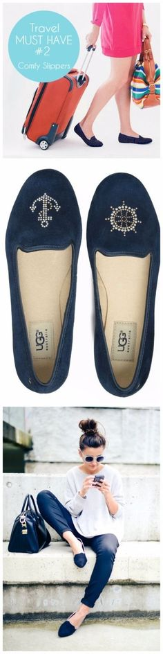Love my comfy slippers when traveling! These Ugg Sea Glisten Smoking Slippers are my favorite for easy and on-the-go style. They're slim too- so you can stash them in your purse for when your heels start to wear you down. UGG Australia Sea Glisten Anchor Navy Blue Suede Smoking Flats Shoes 9 | eBay by Loveaclosetfind