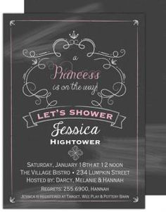 Baby Shower Invitation, Princess Banner, Picture Perfect